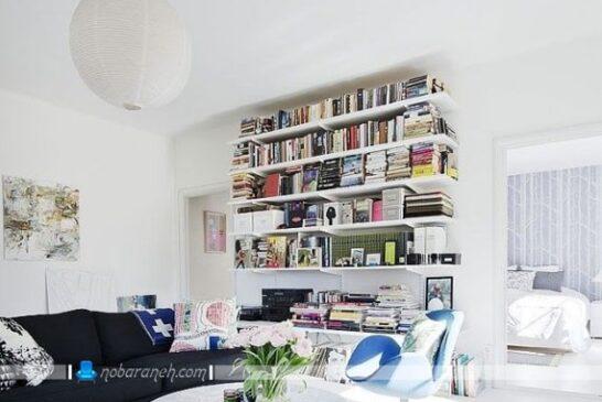 مدل کتابخانه های خانگی بزرگ و ساده اتاق پذیرایی