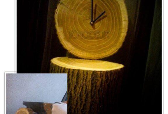 آموزش ساخت ساعت با استفاده از برش تنه ی درخت