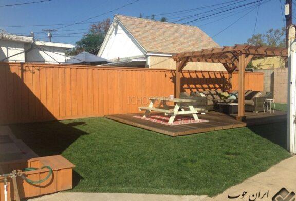 پروژه اجرای پرگولا چوبی + حیاط سازی