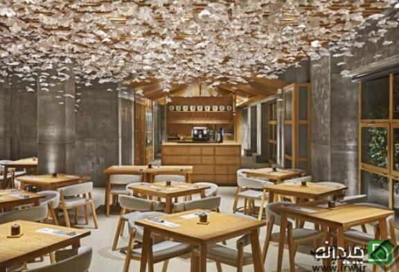 طراحی رستوران ژاپنی با شکوفه های گیلاس در اسپانیا