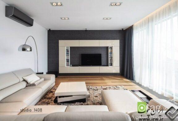 عکس و طرح انواع مدل میز تلویزیون دیواری شیک برای اتاق نشیمن