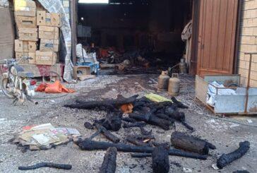 آتش سوزی در انبار چوب و کارگاه چوب بری