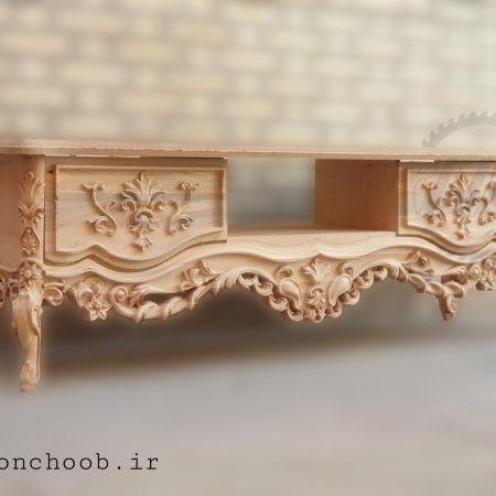 میز تلویزیون رنگ نشده چوبی خام - میز تلویزیون مرسانا